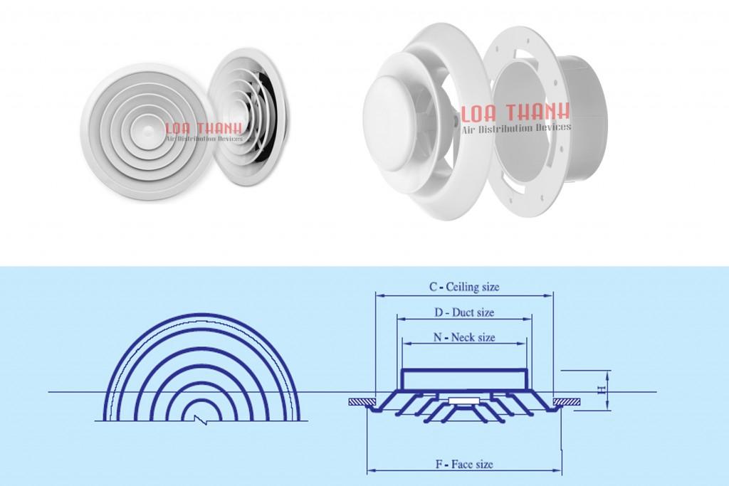 Cửa gió khuếch tán/Cửa hình tròn